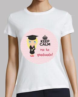 Graduación keep calm - mujer, manga corta, blanca, calidad premium