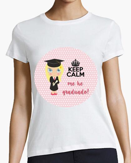Tee-shirt graduation keep calm - femme, manches courtes, blanc, qualité supérieure