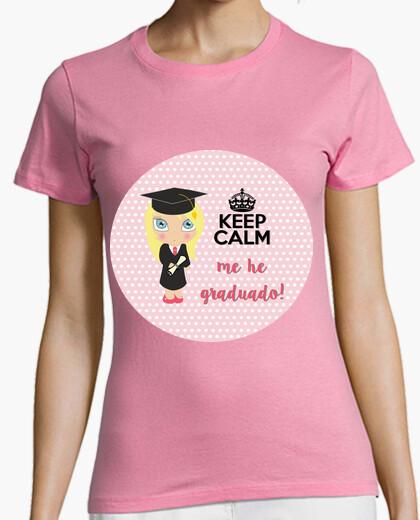 Tee-shirt graduation keep calm - femme, manches courtes, rose, qualité supérieure