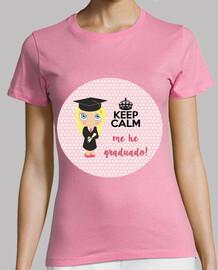 graduation keep calm - femme, manches courtes, rose, qualité supérieure