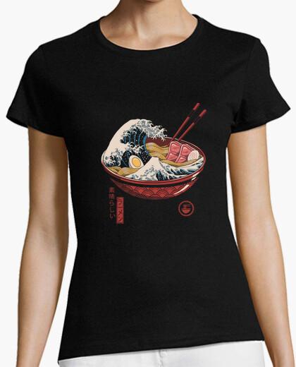 T-shirt grandi donne camicia a onde ramen