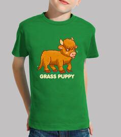 Grass Puppy - Scottish Highland Cow - Kids shirt
