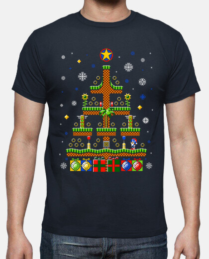 green hill christmas / sonic t-shirt moche pull / mens