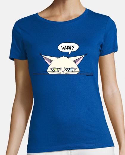 grumpy white cat women's t-shirt