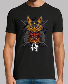 Guerrero samurai con máscara de demonio