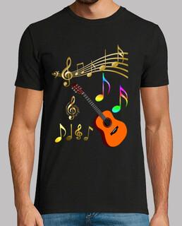 Guitarra con notas musicales