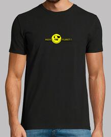 Hack The Planet. camiseta negra chico.