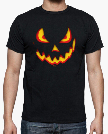 Angry Halloween Pumpkin Face T-shirt for Adults
