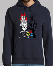 halloween scheletro e albero
