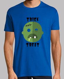 Halloween Trick or Treat. Hombre, manga corta, azul royal, calidad extra
