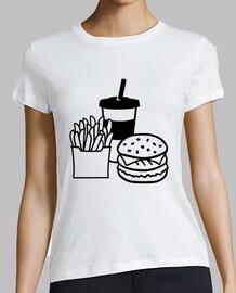 hamburguesa bebida papas fritas francés
