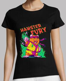 Hamster Fury - Mujer, manga corta, negra, calidad premium