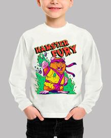 Hamster Fury - Niño, manga larga, blanco