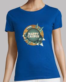 happy camper - feliz vuelta al mundo con mi furgoneta - Mujer, manga corta, calidad premium