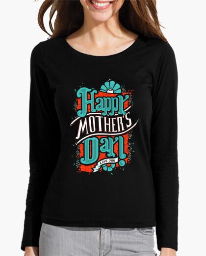 T Shirt Maglietta Happy Mothers 545115 A Donna Maniche Lunghe Day QsCrtdh