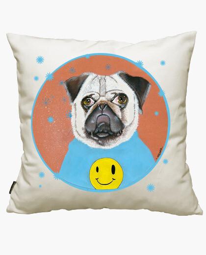 Happy pug cushion cover