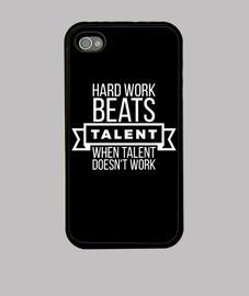 Hard work beats talent white