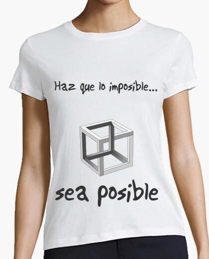 Camiseta Haz posible lo imposible clara (Cubo, mujer)