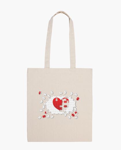 Heart puzzle bag