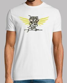 Heroes Never Die camiseta hombre, manga corta, blanco, calidad extra