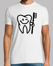 heureux brosse à dents de la dent