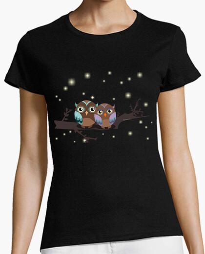 Tee-shirt hiboux amoureux kawaii