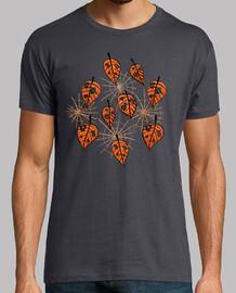 hojas naranjas de otoño y telarañas