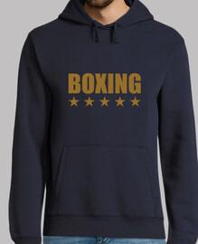 hombre encapuchado sudadera boxeo, azul marino