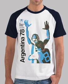 Hombre, estilo béisbol, blanca y azul royal