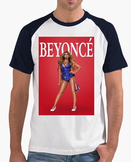 Camiseta Hombre, estilo béisbol, blanca y azul royal