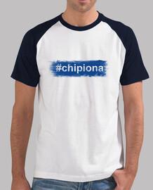 Hombre, estilo béisbol, blanca y azul royal - #Chipiona