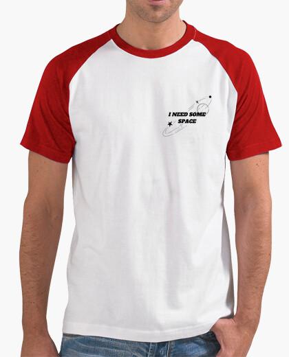 Camiseta Hombre, estilo béisbol, blanca y roja, con diseño tumblr I need some space