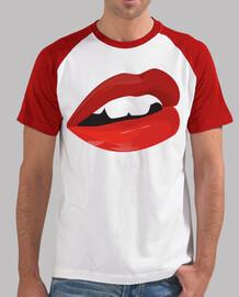 Hombre, estilo béisbol, blanca y roja labios
