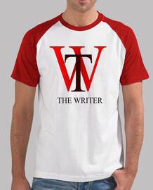 Hombre, estilo béisbol, blanca y roja THE WRITER. ESCRITOR JULIO MORENO