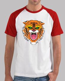 Hombre, estilo béisbol, blanca y roja, Tigre