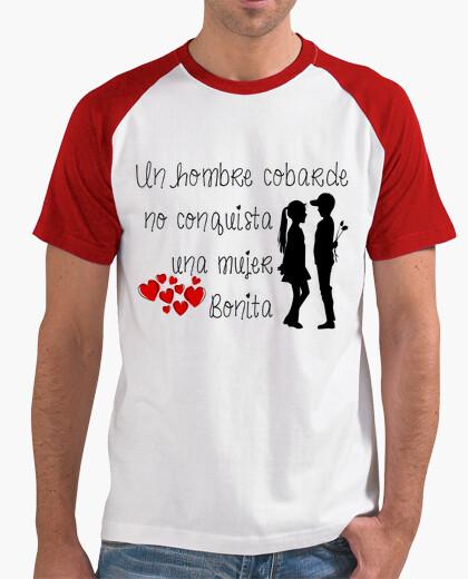 Camiseta Hombre, estilo béisbol, blanca y roja Un hombre cobarde