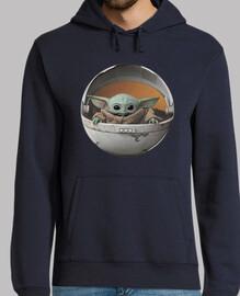 Hombre, jersey con capucha, azul marino Baby Yoda