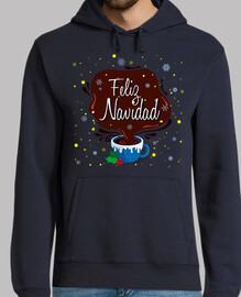 Hombre, jersey con capucha, azul marino Taza Feliz Navidad