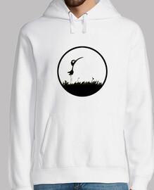 Hombre, jersey con capucha, blanco/Pájaro