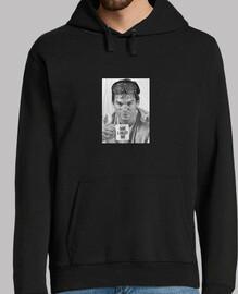 Hombre, jersey con capucha, negro. Dexter