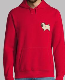 Hombre, jersey con capucha, rojo Pug carlino dibujo