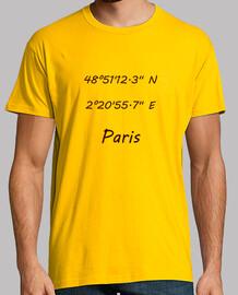 Hombre, manga corta, amarillo mostaza, calidad extra Coordenadas Paris