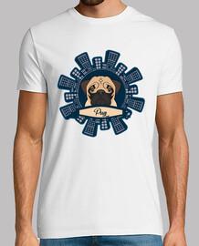 Hombre, manga corta, blanco, calidad extra Diseño Pug Rascacielos