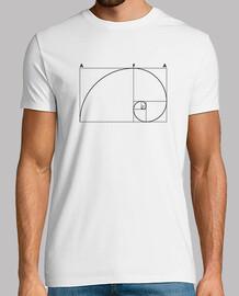Hombre, manga corta, blanco, calidad extra fibonacci logo negro