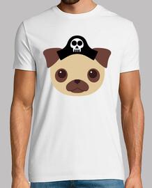 Hombre, manga corta, blanco, Diseño Perro Pirata