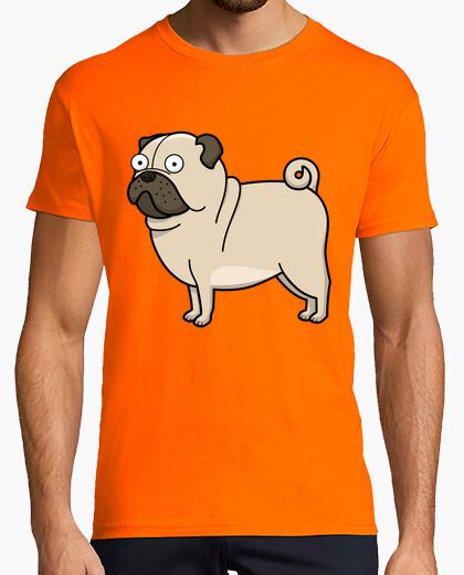 Camiseta Hombre, manga corta, naranja, calidad extra Pug carlino dibujo