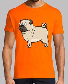 Hombre, manga corta, naranja, calidad extra Pug carlino dibujo
