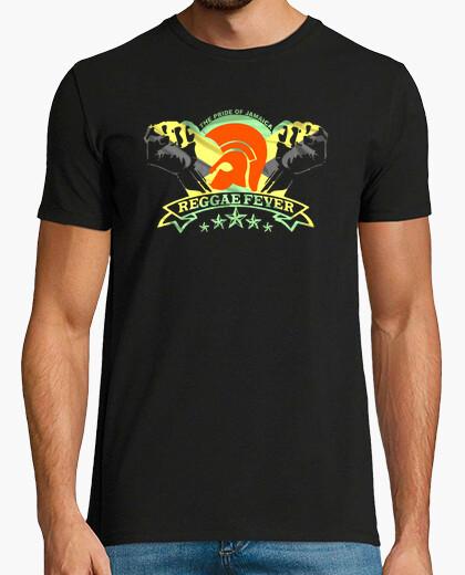 Camiseta Hombre, manga corta, negra, calidad extra REGGAE FEVER