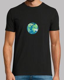 Hombre, manga corta, planeta tierra