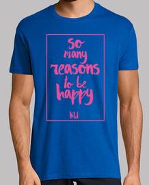 Hombre, manga corta, So many reasons to be happy pink